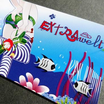 Visitenkartengestaltung mit partiellen UV-Lacken auf beiden Seiten (Vorderseite Jahr 2009)